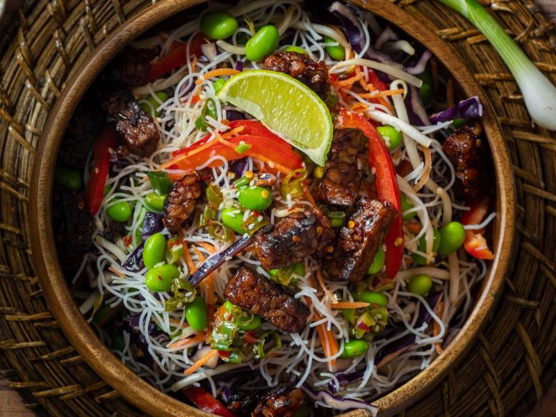 Tiba Tempeh Rice Noodle Salad with Toasted Sesame Dressing